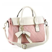 Elegant Bowknot Diamond Check Pattern Crossbody Bag Handbag