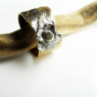 Relic Flower Ring Brass Sterling Silver Fine by patinaware