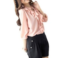 Allegra K Stand Collar Flouncing Middle Length Sleeves Blouse for Lady