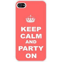 Rikki KnightTM Keep Calm and Party On - Tropical Pink Color White Hard Case Cover for Apple iPhone® 4 & 4s Universal: Verizon - Sprint - AT&T - Unisex - Ideal Gift for all occassions!