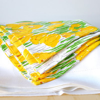 Vintage Vera Tablecloth and Napkins Yellow Tulip Design Vera Neumann