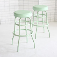 Vintage Diner Stools, Mint, Set of Two