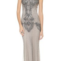 Monique Lhuillier Sleeveless Gown with High Neck | SHOPBOP