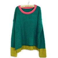 Sweet Color Matching Long Scoop Neck Loose Plus Size Christmas Sweater