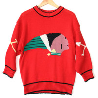 Vintage 80s Big Indian Head Ugly Sweater - The Ugly Sweater Shop