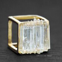CRYSTAL CUBE RING  Long Raw White Crystal by ChristinaRoseJewelry
