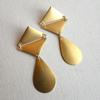 Geometric Brass Dangle Studs by RachelPfefferDesigns on Etsy