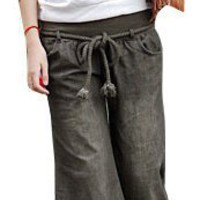 Allegra K Ladies Braided Drawstring Waist Slants Pockets Casual Pants Loosen Trousers S