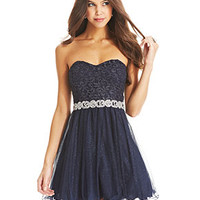 City Studios Juniors Dress, Strapless Lace Glitter A-Line - Juniors Dresses - Macy's