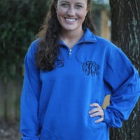 Monogrammed Quarter Zip Sweat Shirt, 1/4 Zip Sweatshirt, Greek Embroidery Available