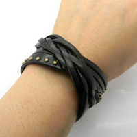 Black Leather Rivet Wristband women's Leather Cuff  bracelet jewelry bangle, Puck Style Wrap Bracelet T037-BL