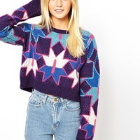 ASOS Premium Cropped Sweater In Geo Knit