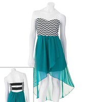 Trixxi Chevron Hi-Low Dress - Juniors