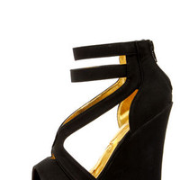 Mona Mia Merce Black Strappy Platform Wedges