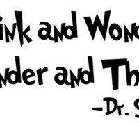 Dr Seuss Wall Decal 'Think and Wonder Wonder and by InitialYou