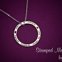 Forever Faithful, Never to Part - Hand Stamped Necklace - Anniversary Gift - Stainless Steel Ring - Husband Wife Jewelry - Personalized