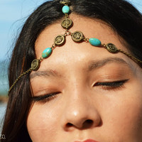 Chain Headpiece Boho Head Jewelry Bohemian Headband Headdress Gypsy Jewelry Chic Bohemian  Hair Jewelry Milena Side Drapes