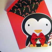 Penguin and Candy Cane Christmas Card Animal Cut Outs Christmas Cards on Handmade Artists' Shop
