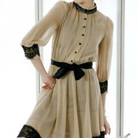 Elegant Feminine Pleated Khaki Black Lace Trims Chiffon Dress. Summer | GlamUp - Clothing on ArtFire