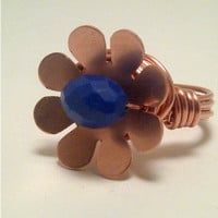 Blue Flower Copper Ring by EuphoricCharms on Etsy