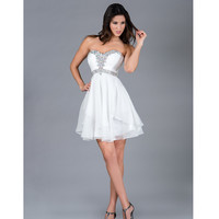 2014 Prom Dresses - Off-White Strapless Short Chiffon Prom Dress - Unique Vintage - Prom dresses, retro dresses, retro swimsuits.