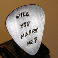 Guitar Pick Marriage Proposal Handmade in Sterling Silver