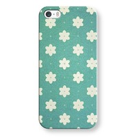 white flowers on turquoise iPhone & iPod case by Sylvia | Casetagram