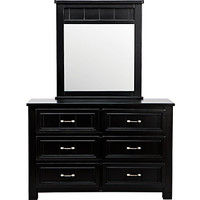 Cottage Colors Black Dresser Mirror Set