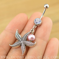 starfish Belly Button jewelry, starfish belly button ring,starfish Navel Jewelry,pearl bellyring friendship belly button jewelry