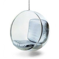 Bubble Chair By Eero Aarnio 1968 with Silver Cushion 30 Day Money Back Guarantee