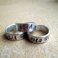 Big Sis Lil Sis Mid Sis Rings - Sisters Jewelry - Sorority Stamped Rings - Big Sister Little Sister Gift Ideas - Personalized Ring Set