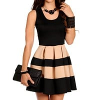 Black/Taupe Sleeveless Skater Stripe Dress