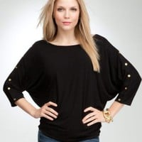bebe Button Detail Dolman Top