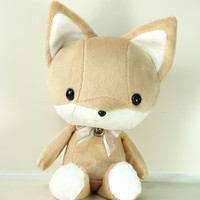 Cute Fox Plush Stuffed Animal Toy Brown w White Contrast Fox Plushie - Bellzi Foxxi