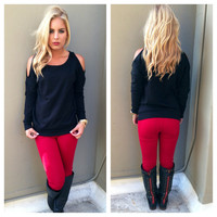 Black Open Shoulder Sweatshirt