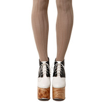 Ribbed Knee High Socks in Beige