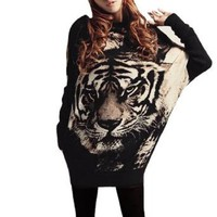 Allegra K Women Tiger Head Print Scoop Neck Long Sleeve Tunic Shirt Beige Black XS