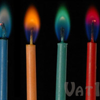 Color Flame Party Candles: Twelve birthday candles with brightly colored flames.