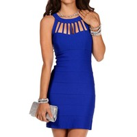 Royal Blue Cage Banded Dress