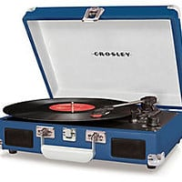 One Kings Lane - Retro-Style Tech Gear - Portable Turntable, Blue
