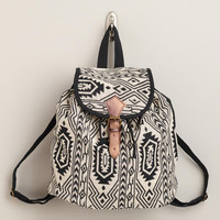 Black and White Woven Backpack | World Market