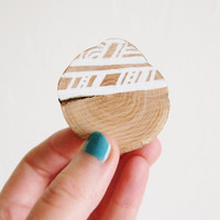 White Wooden Brooch - Hand Drawn Geometry