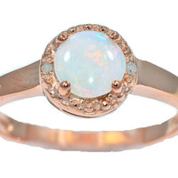 14Kt Rose Gold Genuine Opal Round Diamond Ring