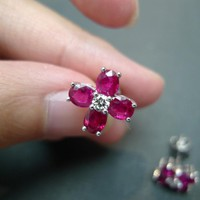 4.13cttw Natural Ruby Diamond Earring In 18K White Gold | honngaijewelry - Jewelry on ArtFire