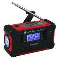 Ambient Weather WR-111 Emergency Solar Hand Crank AM/FM/NOAA Digital Radio, Flashlight, Cell Phone Charger with NOAA Certified Weather Alert & Cables