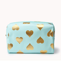 Metallic Heart Print Cosmetic Bag