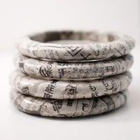 Recycled Newspaper Eco-Bangle Bracelet Japanese Kanji | SquishySushi - Earth Friendly on ArtFire