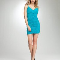 bebe Woven Rope Ruched Dress