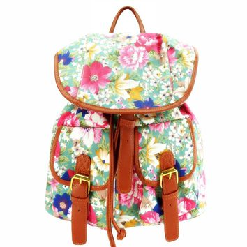 ZLYC Floral Canvas Backpack School Bag for Teen Girls