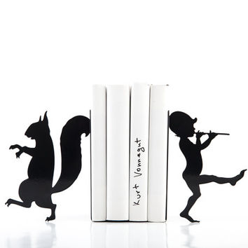 Bookends - Elf and squirrel - laser cut for precision these metal bookends will hold your favorite books